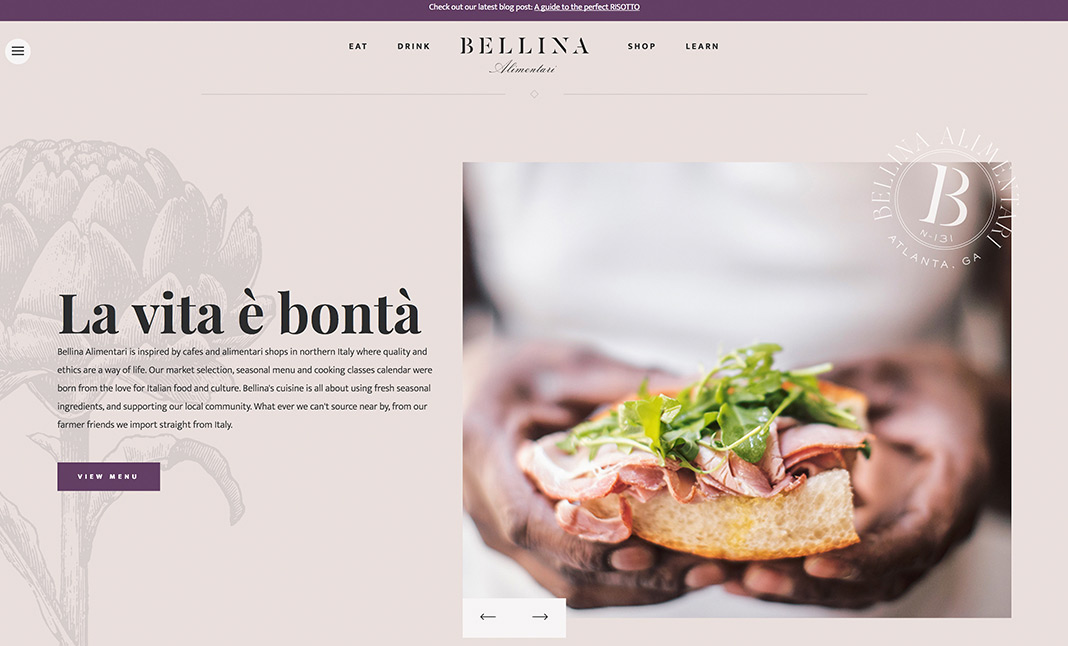 Bellina Alimentari website