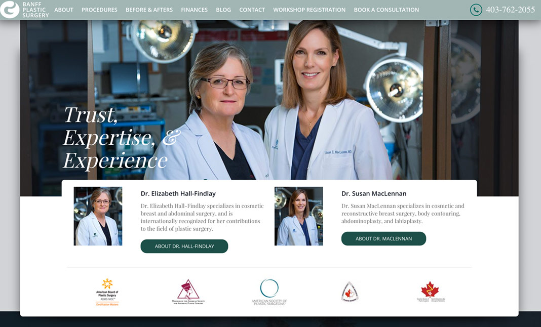 Banff Plastic Surgery website
