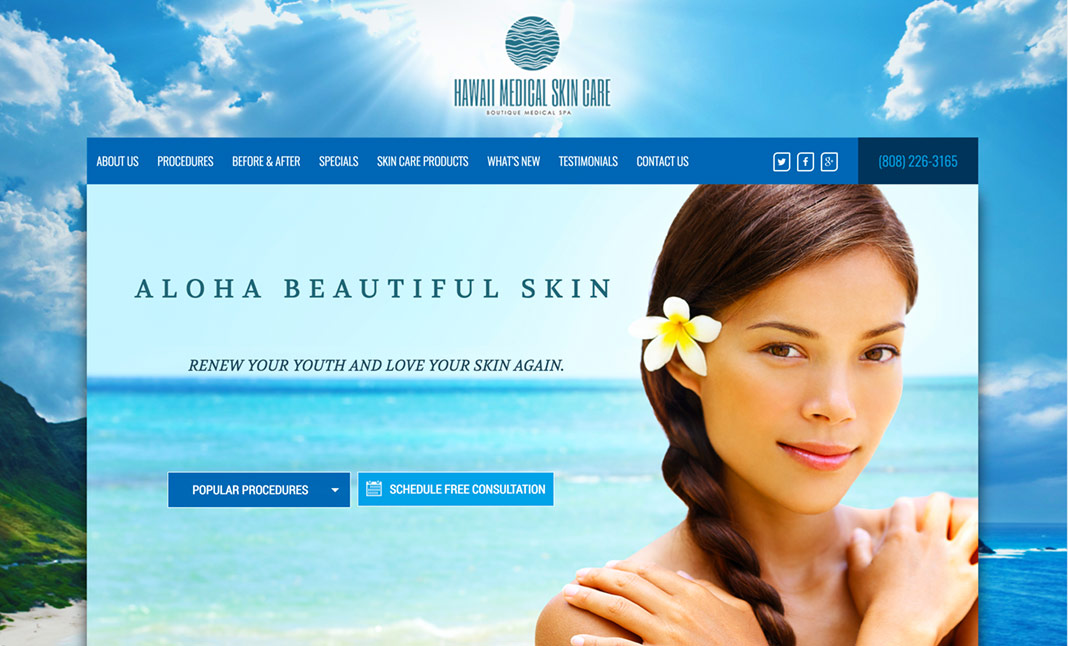Hawaii Medical Skin Care website