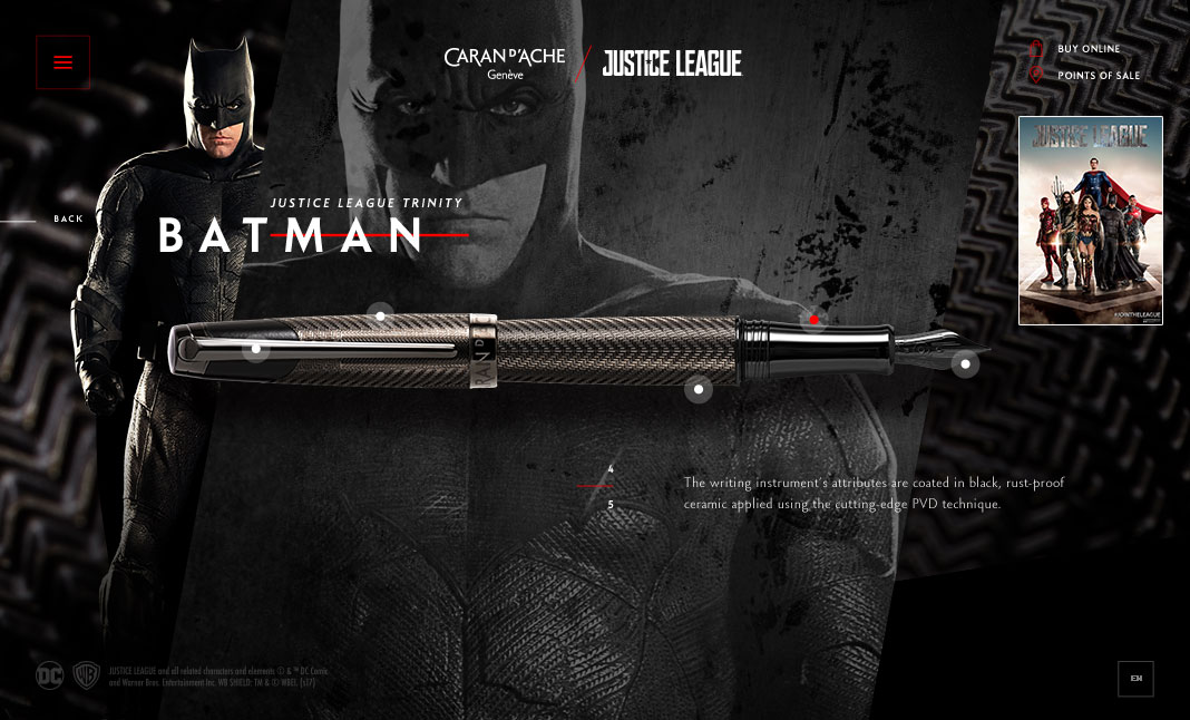 Caran d'Ache X Justice League website
