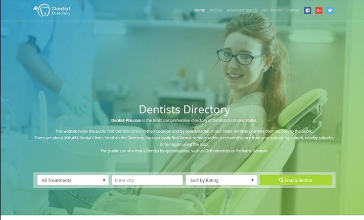 Dentists Directory website
