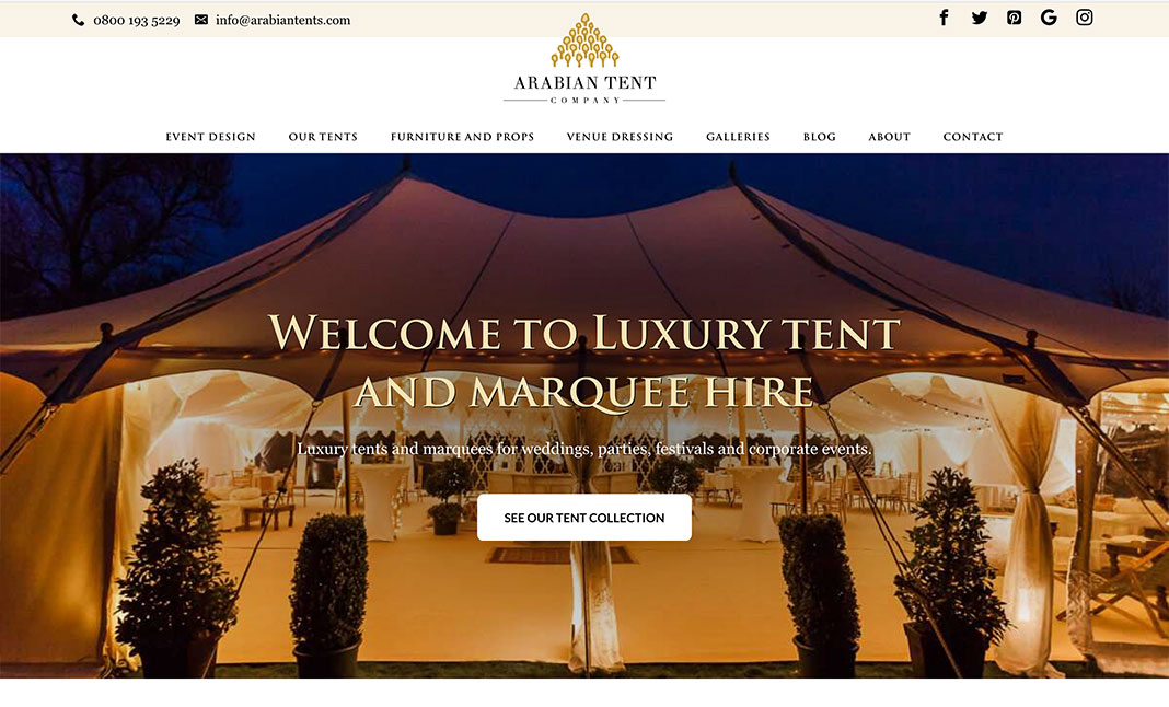 Arabian Tent Company website