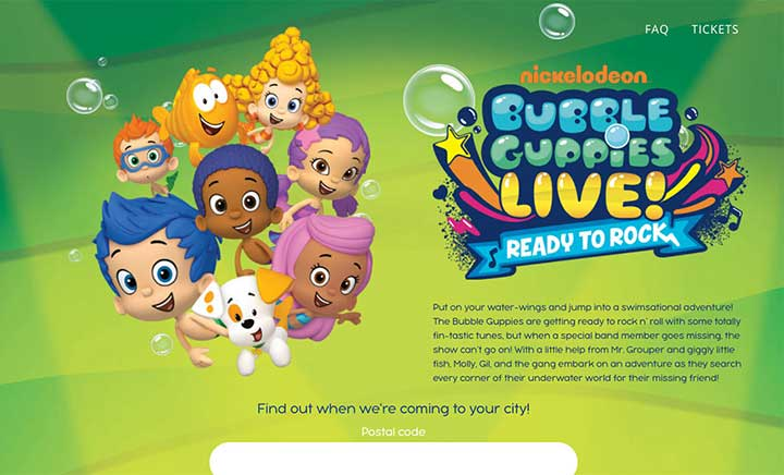 Bubble Guppies Live website