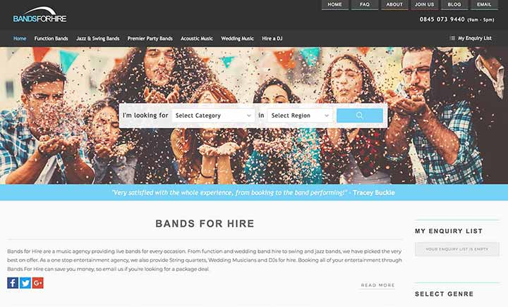 Bands For Hire website