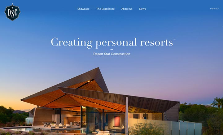 Desert Star Construction website