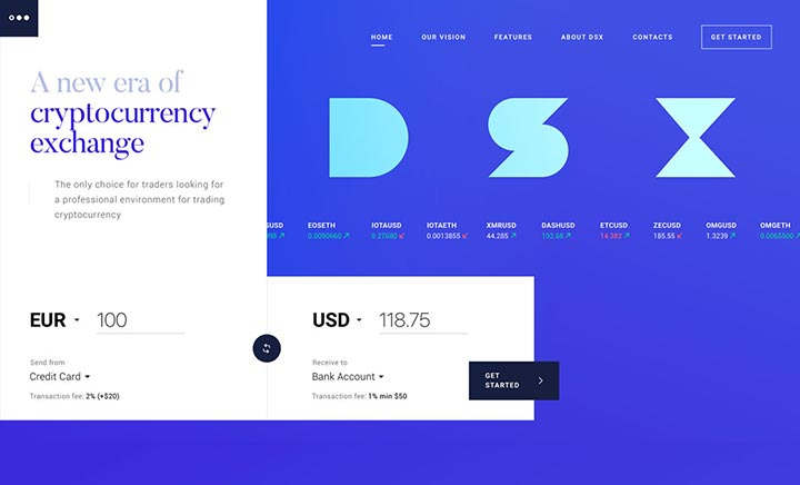 DSX Cryptocurrency Exchange website