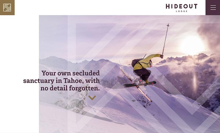 Hideout Lodge website