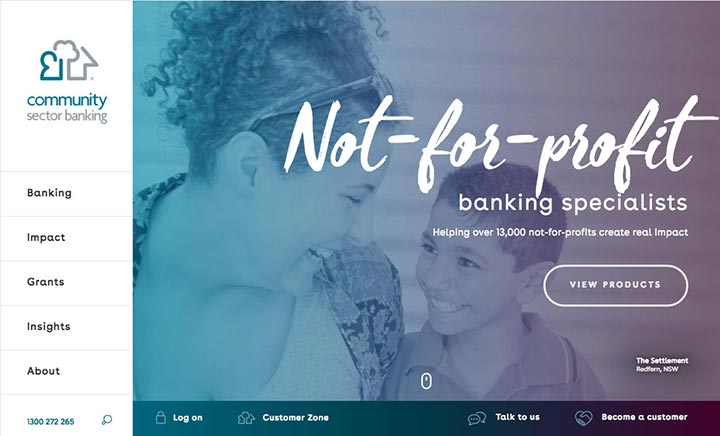 Community Sector Banking  website