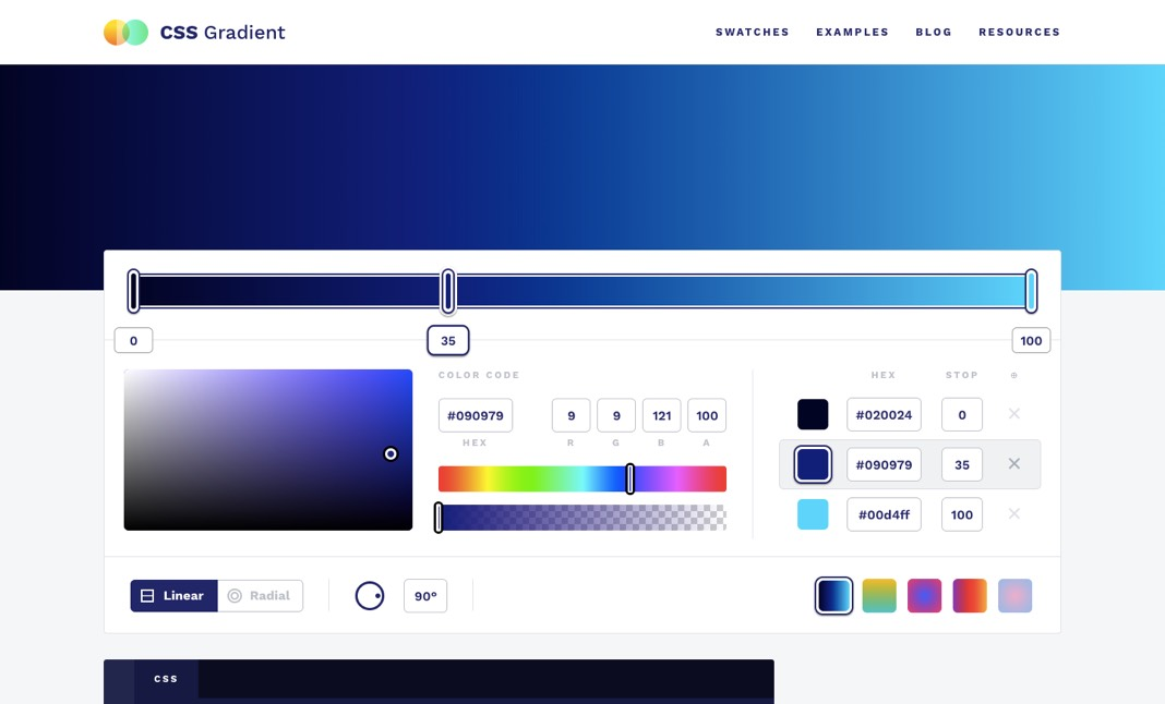 CSS Gradient website