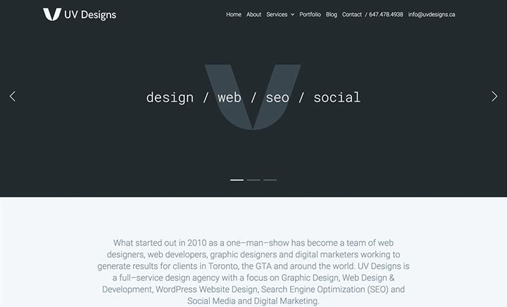 UV Designs website