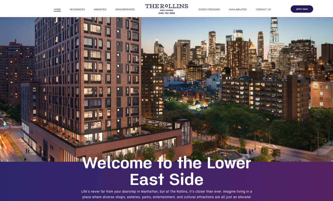 The Rollins NYC website