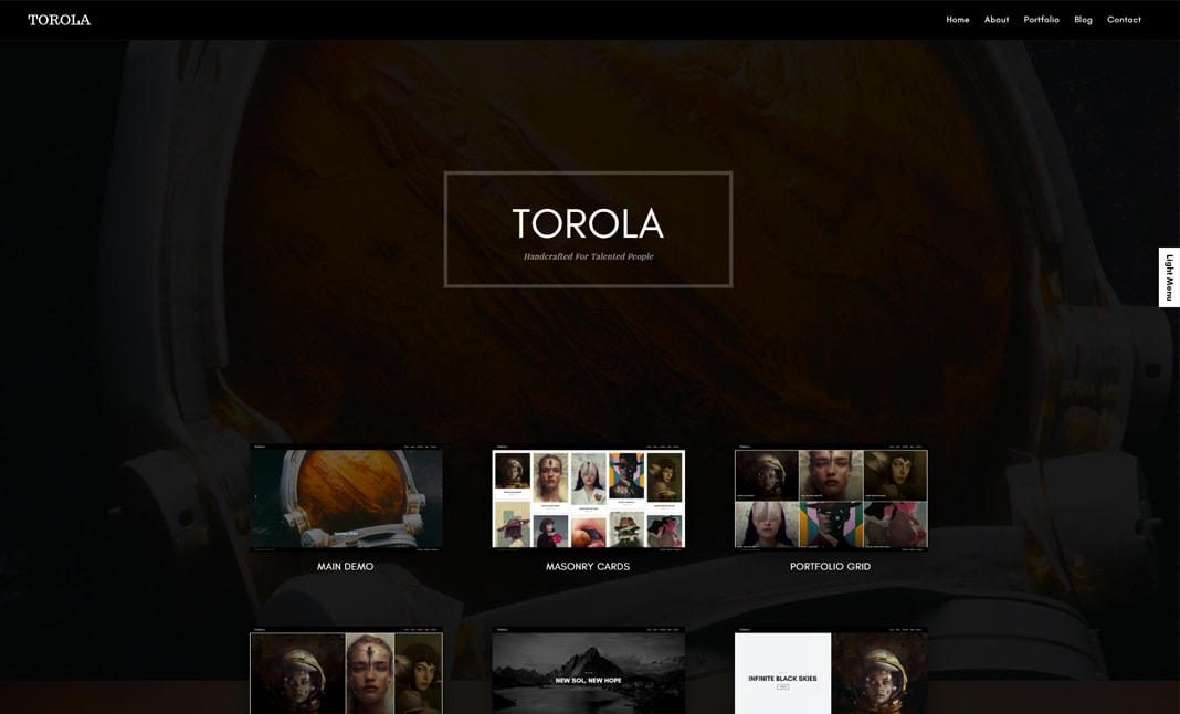 Torola Modern Photography Theme website