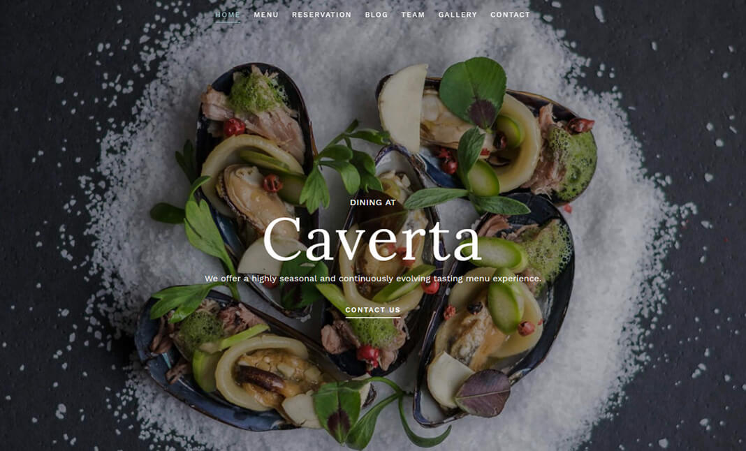 Caverta WP Restaurant Theme website