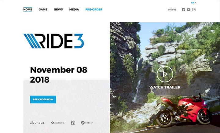 Ride 3 website