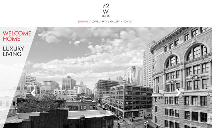 72 W Lofts website