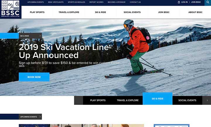 Boston Ski & Sports Club website