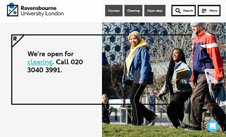 Ravensbourne University London website