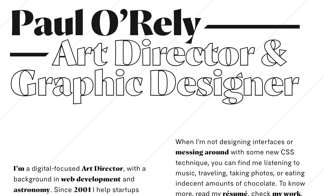 Paul O'Rely ⁄⁄ Art Director website