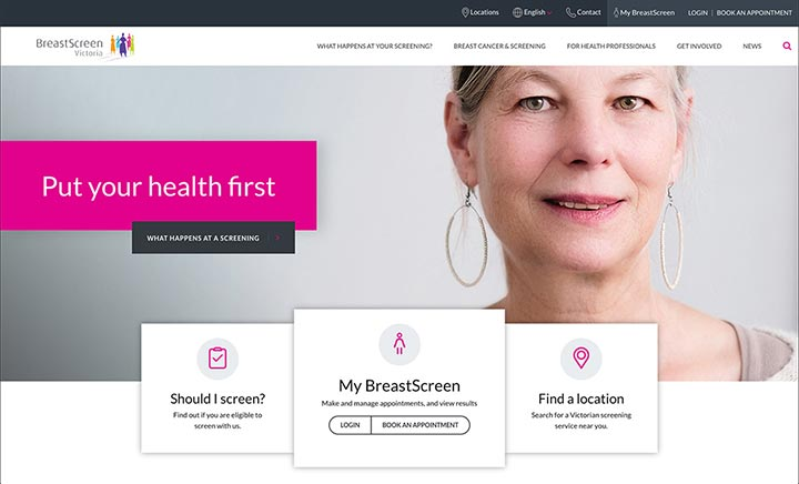 Breast Screen Victoria website