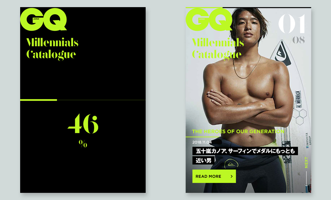 GQ millennials Catalog website