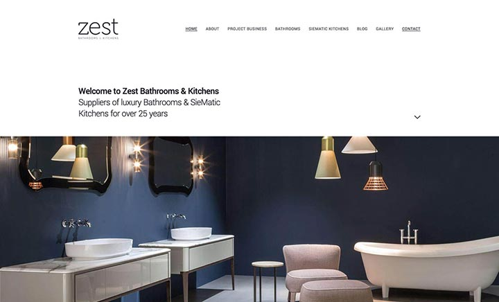 Zest Bathrooms & Kitchens website
