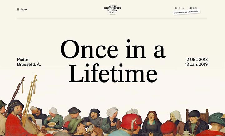 Bruegel – Once in a Lifetime website