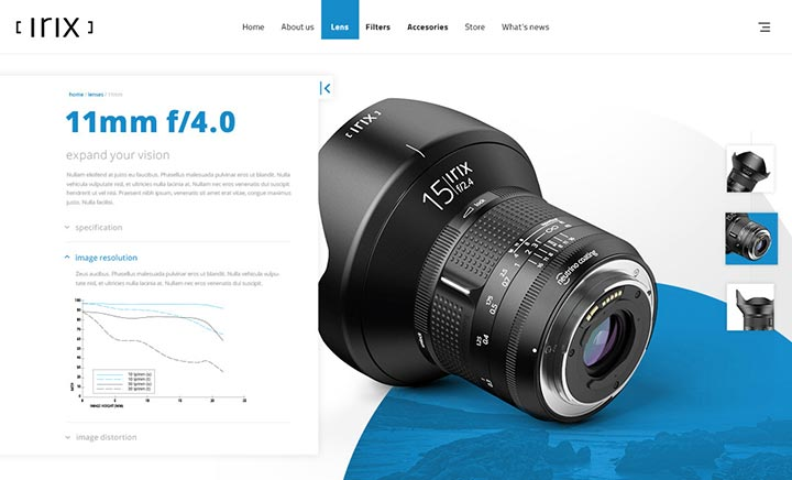 Irixlens website