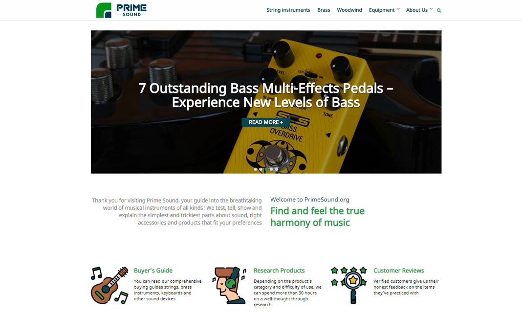 Prime Sound website