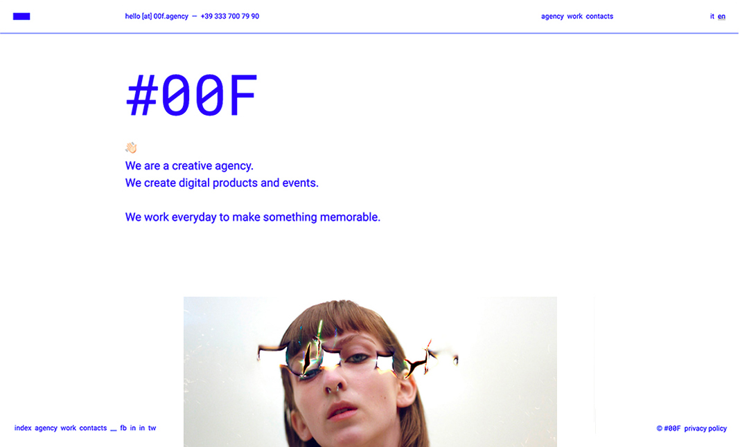 #00F Agency website