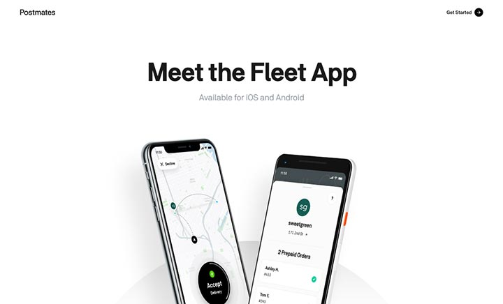 Postmates Fleet App website