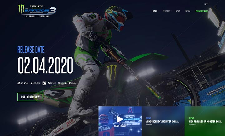 Monster Energy Supercross 3 website