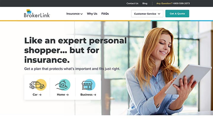 BrokerLink Insurance website