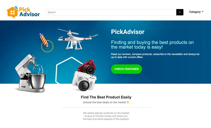PickAdvsior website