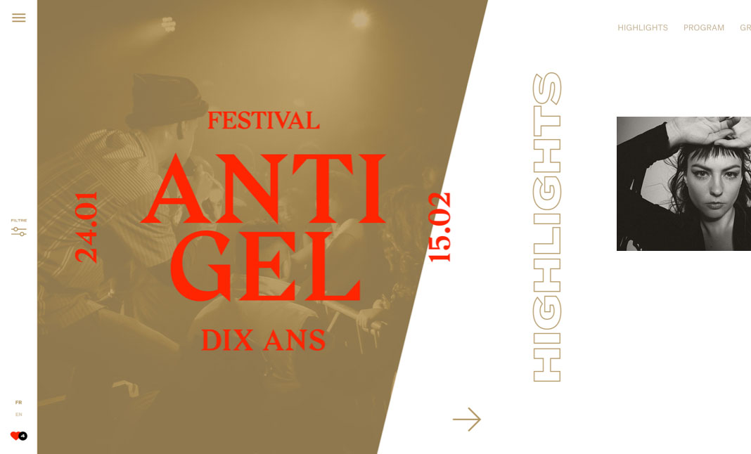 Antigel Festival 2020 website