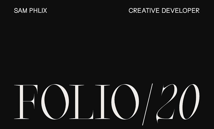 Sam Phlix - FOLIO/20 website