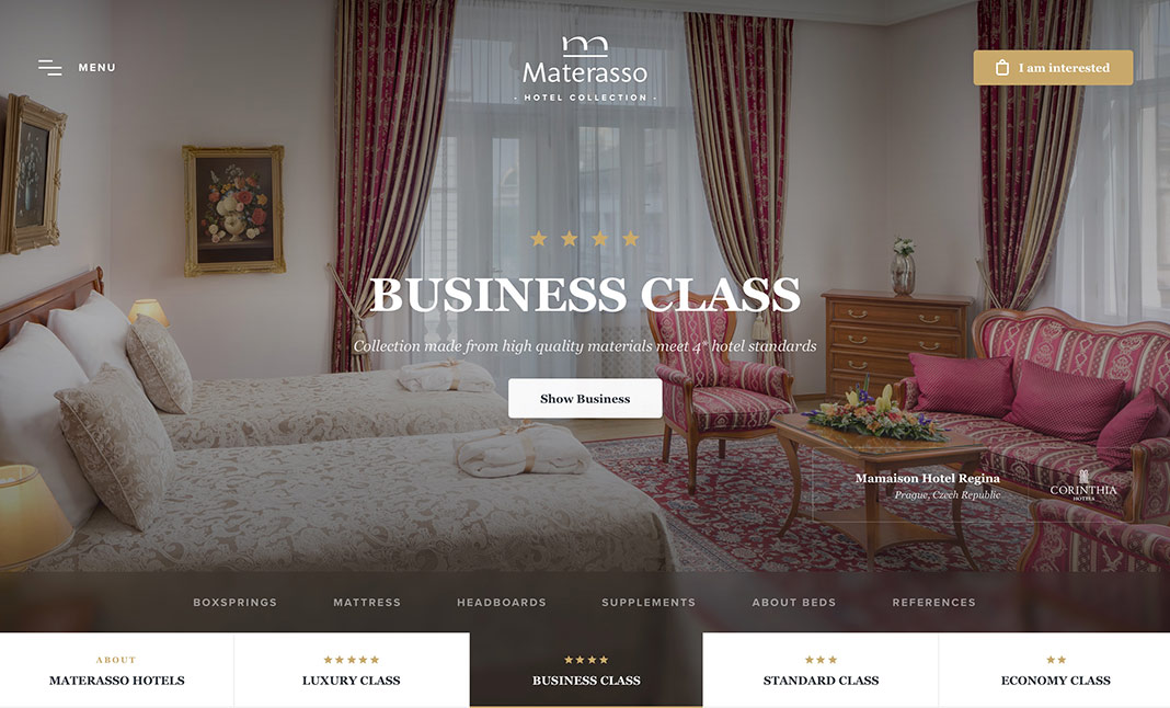 Materasso Hotels website