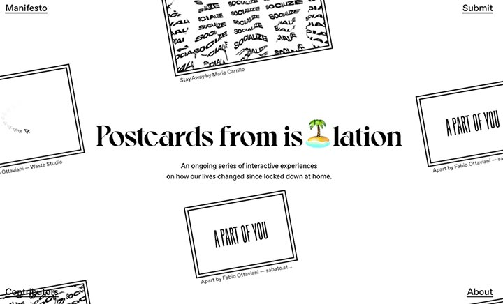 Postcards from Isolation website