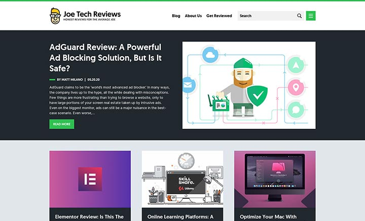 Joe Tech Reviews website