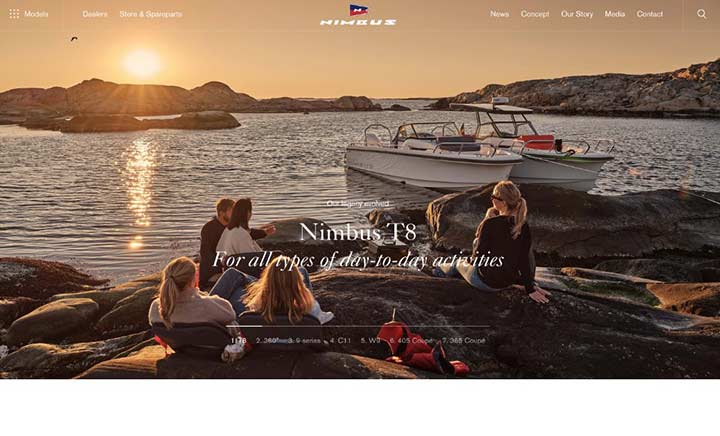 Nimbus Boats Sweden website