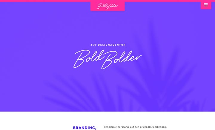 Bold Bolder Design Agency website