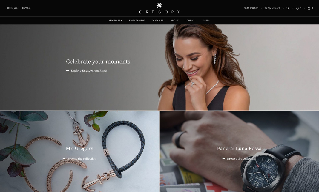 Gregory Jewellers website