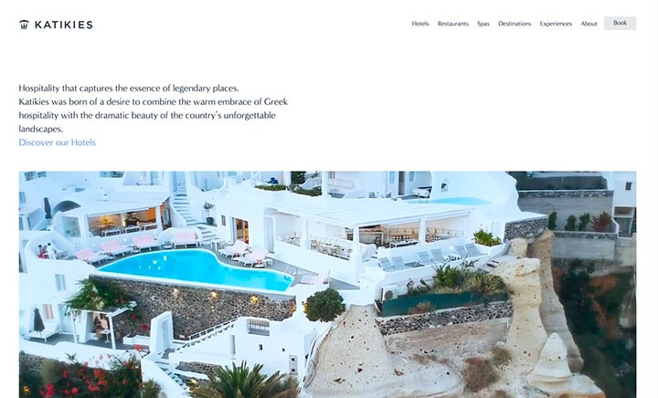 Katikies Hotels Greece website