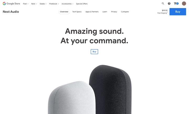 Google Nest Audio website