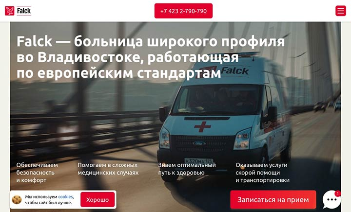 Falck Hospital website