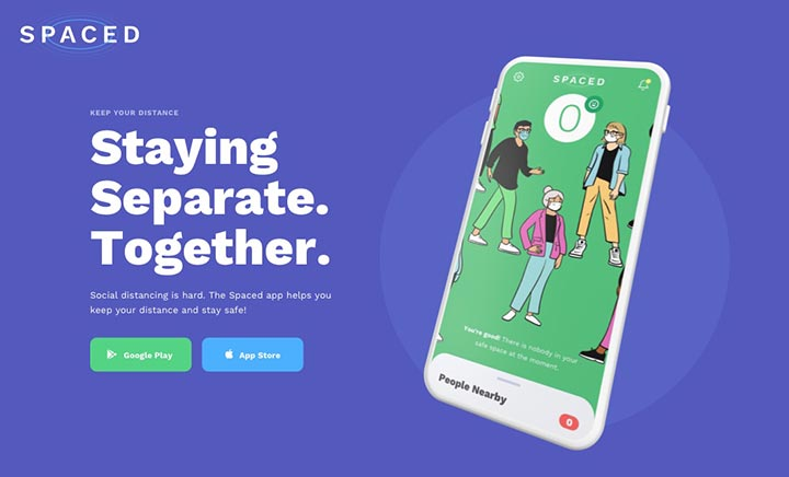 SPACED | Social Distancing App website