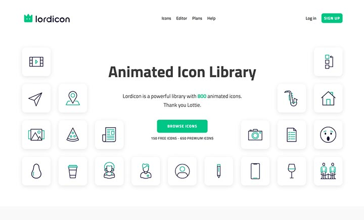 Lordicon Animated Icons website
