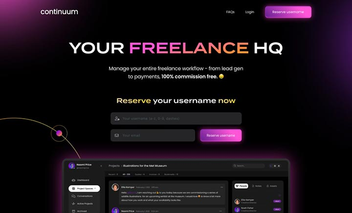 Continuum - The Freelancer OS website